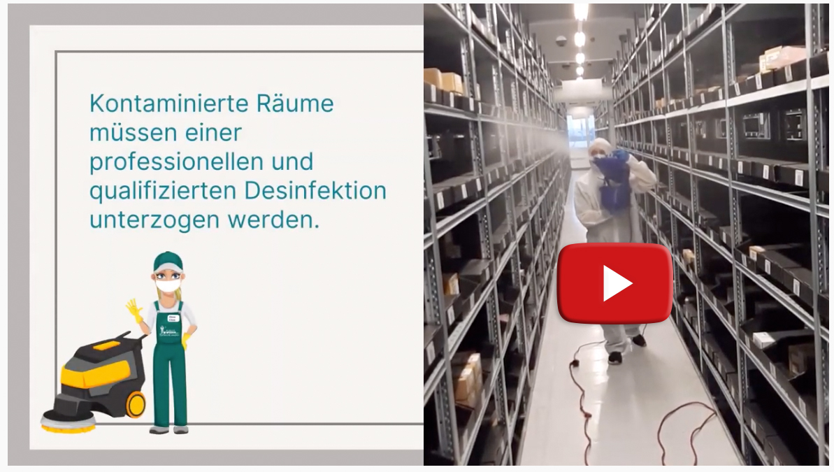 Youtube Video Lagerraum- und Industriereinigung und Desinfektion